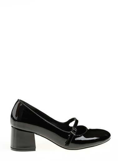 D by Divarese Kalın Topuklu Rugan Ayakkabı Siyah